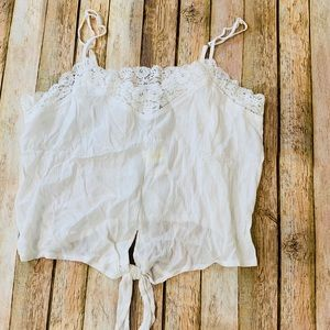 American Rag Cream Crop Tie Front Tank with Lace